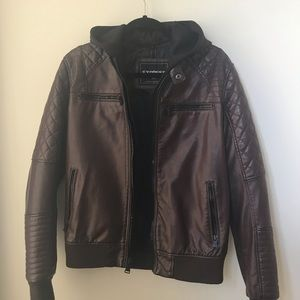 Express Men's Faux Leather Bomber Jacket with Hood